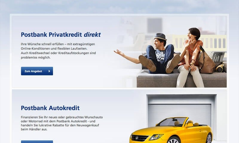 Screenshot: Postbank Kredite
